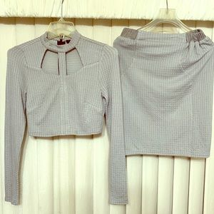 Sugar Lips Light Grey Skirt Set with cut-outs